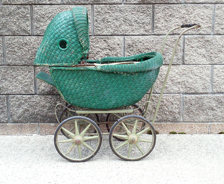 Vintage Lloyd Loom Wicker Baby Doll Buggy