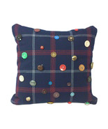 """Navy Plaid Throw Pillow with Antique and Vintage Buttons, 16"""" Square, Cu... - $145.00"""
