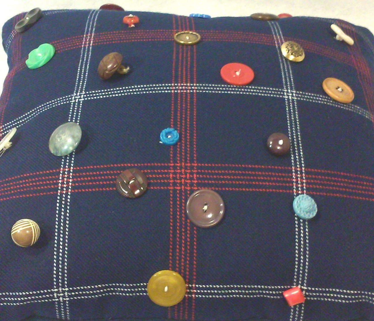 """Navy Plaid Throw Pillow with Antique and Vintage Buttons, 16"""" Square, Custom Mad"""