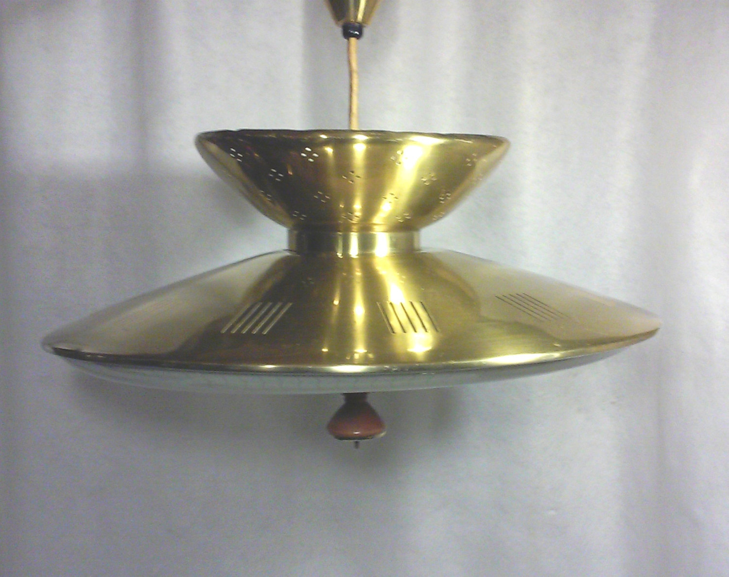 Vintage Mid-Century Modern Gerald Thurston Style Brass Flying Saucer Retractable