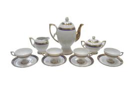 Art Deco Bavarian Cobalt Blue and Gold Porcelain Coffee Set for Four-11 ... - $585.00