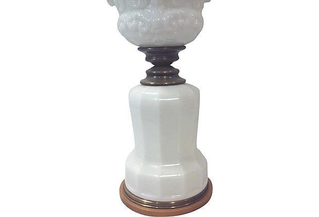 Unusual Antique Milk Glass Cherub Tall Table Lamp
