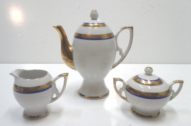 Art Deco Bavarian Cobalt Blue and Gold Porcelain Coffee Set for Four-11 Pieces