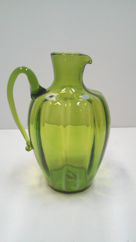 Oversized Mid-Century Italian Olive Green Art Glass Decorative Pitcher Vase