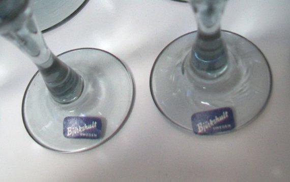 Mid-Century Bjurkshult of Sweden Blue Stemware Set of Twelve