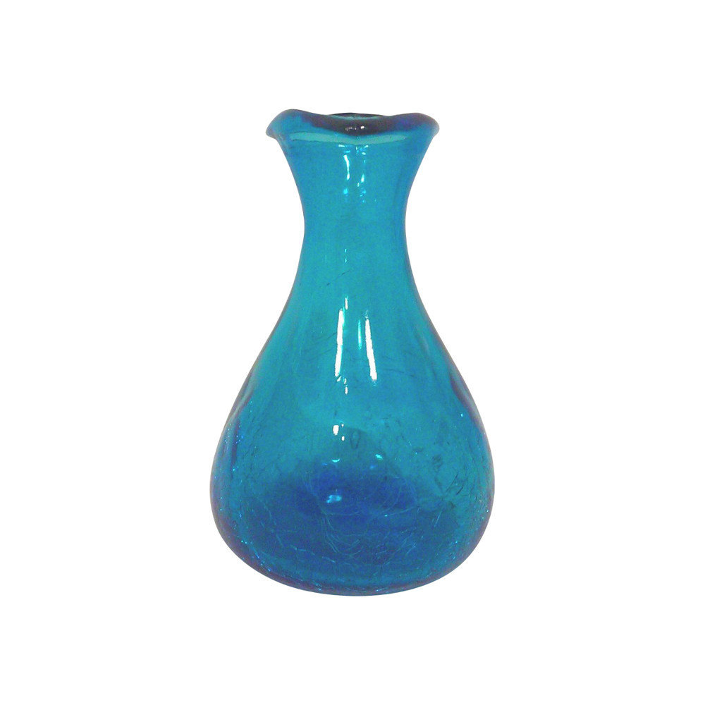 Vintage Blenko Blue Triangular Crackle Vase