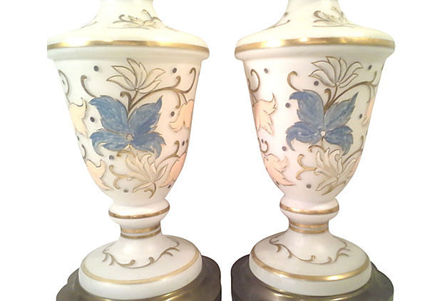 French Hand Painted Pastel Satin Glass Table Lamps-Pair