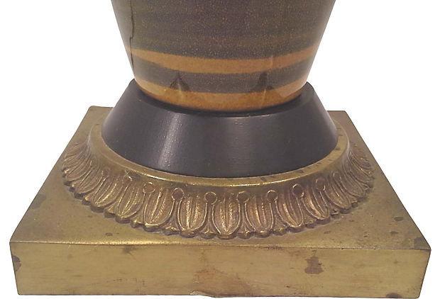 Hollywood Regency Tiger Stripe Tall Ceramic Table Lamp