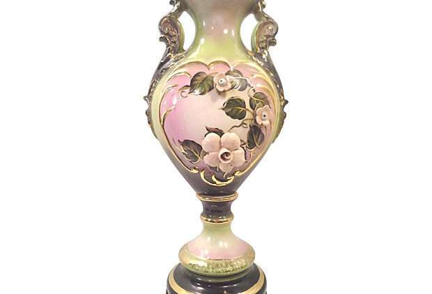 Floral Ceramic Urn Lamp with Hand-painted Pink and Green Flowers