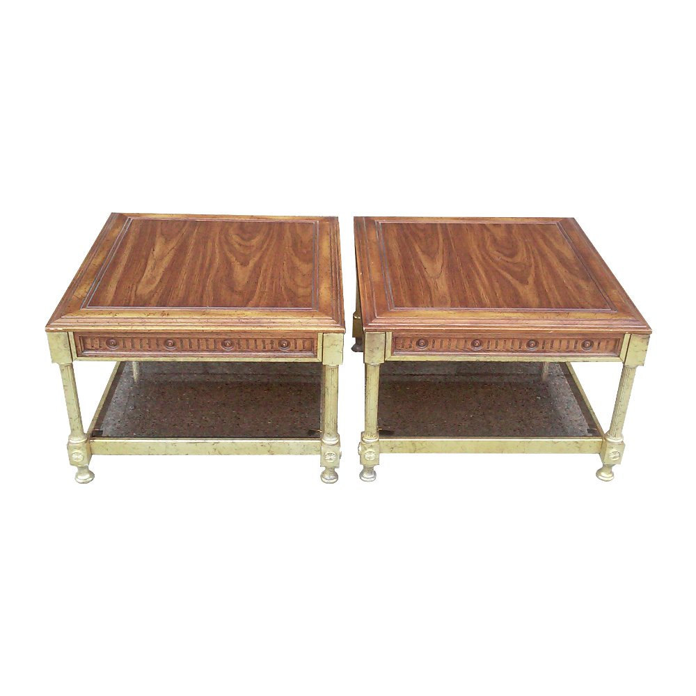 Vintage Jansen-Style Regency Two Tier End Tables-Pair