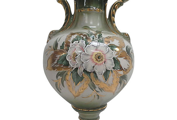 Vintage Gilded Ceramic with Passionflower Floral Design