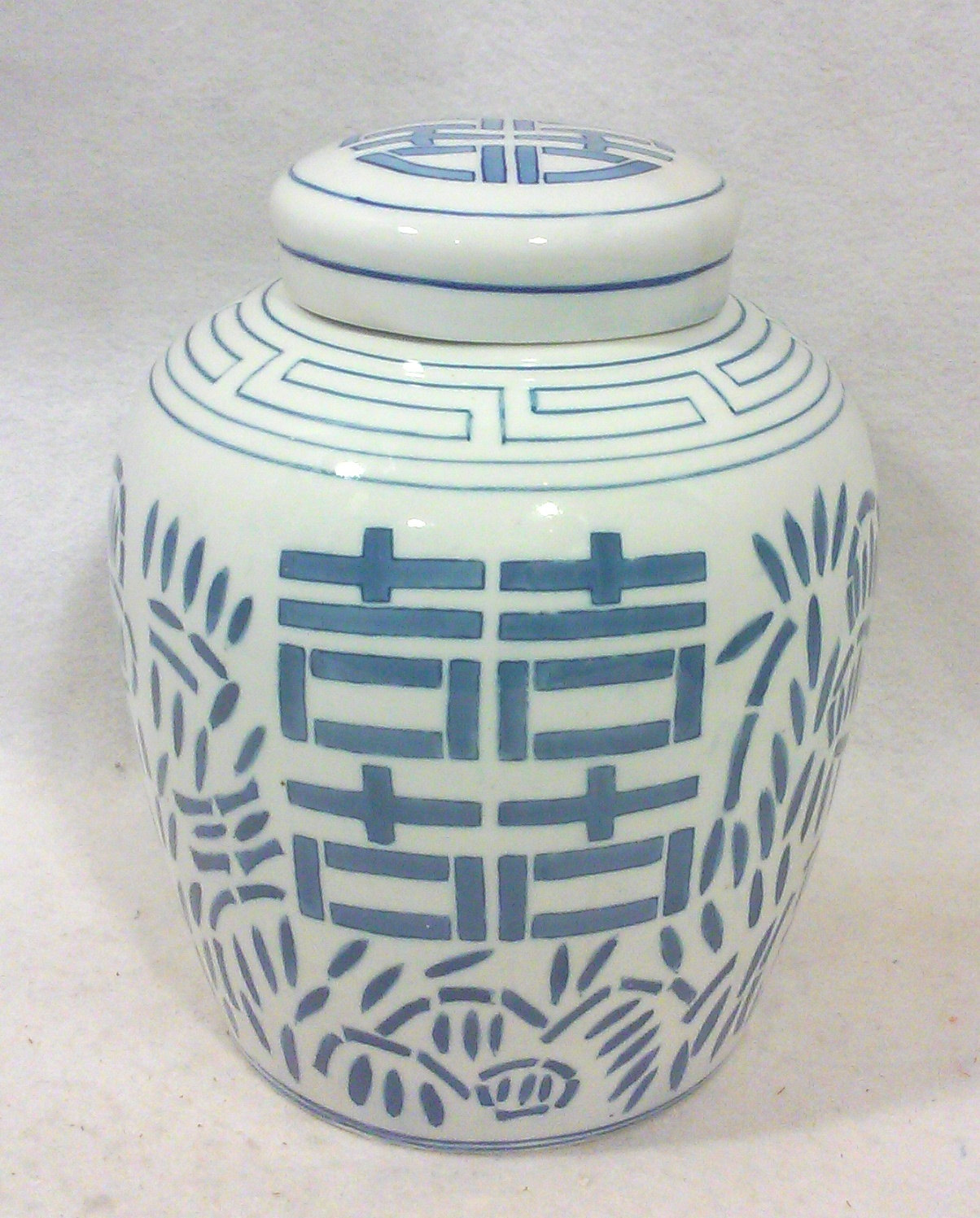 Chinese Export Porcelain Blue and White Ginger Jar-Double Happiness
