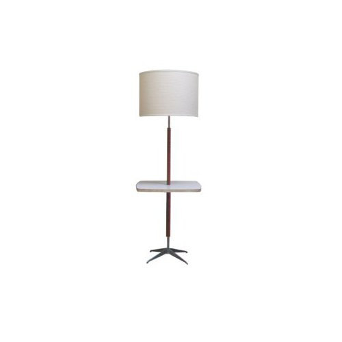 Mid Century Walnut and Brushed Aluminum Floor Lamp with Table