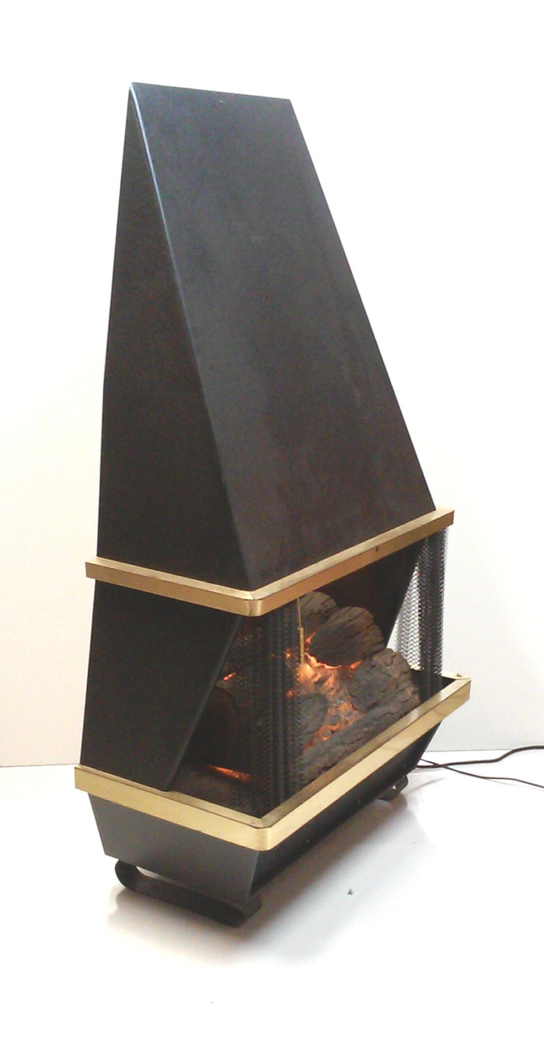 Mid-Century Modern Black Electric Portable Fireplace Heater with Electric Logs