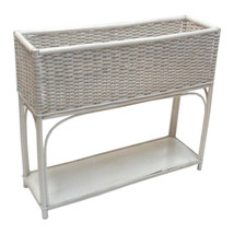 Vintage White Wicker and Rattan Large Planter - $675.00