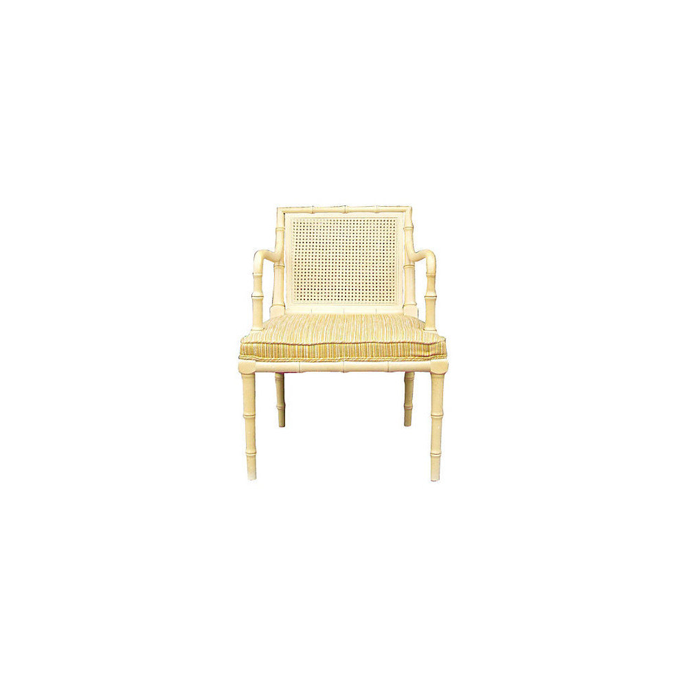 Hollywood Regency Faux Bamboo and Cane Arm Chair