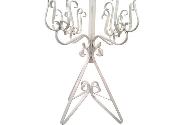 Vintage Wrought Iron Five Arm Plant Stand