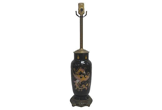 Antique Reverse Painted Dragon Lamp, Art Deco Chinoiserie