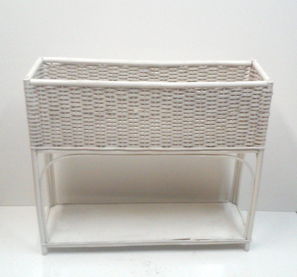 Vintage White Wicker and Rattan Large Planter