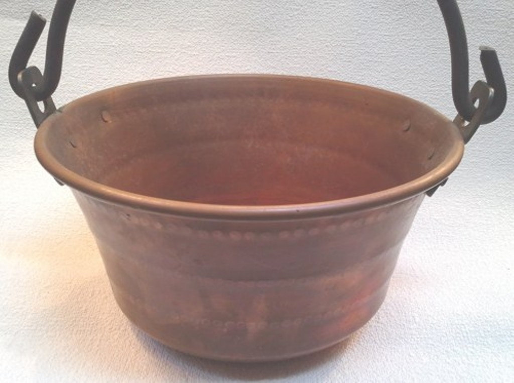 Vintage Hammered Copper Large Handled Jam Pot