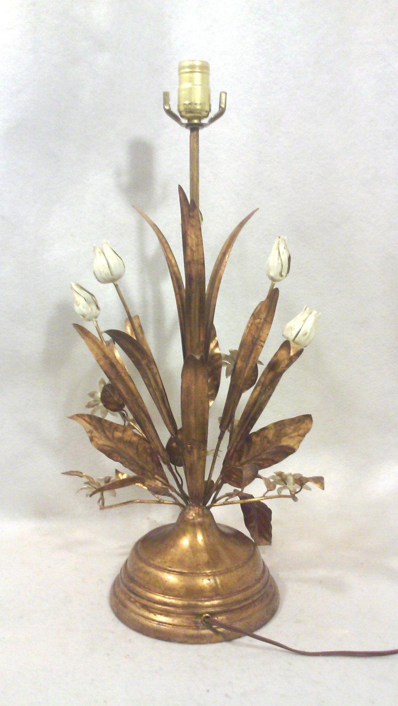 Vintage Florentine Gilded Tole Flora Tall Table Lamp