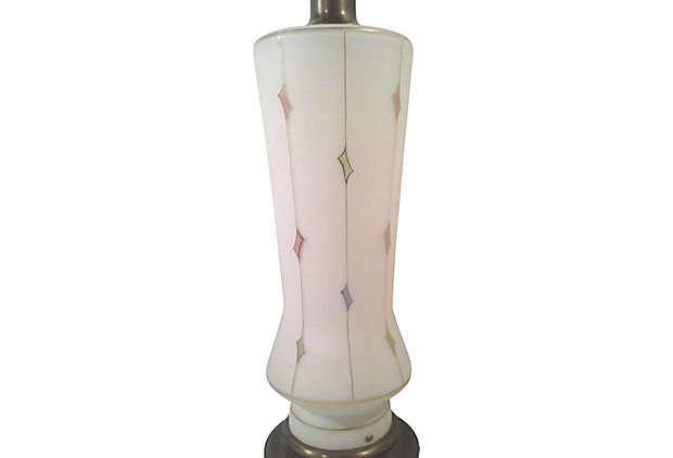 Pastel Harlequin Satin Glass Table Lamp