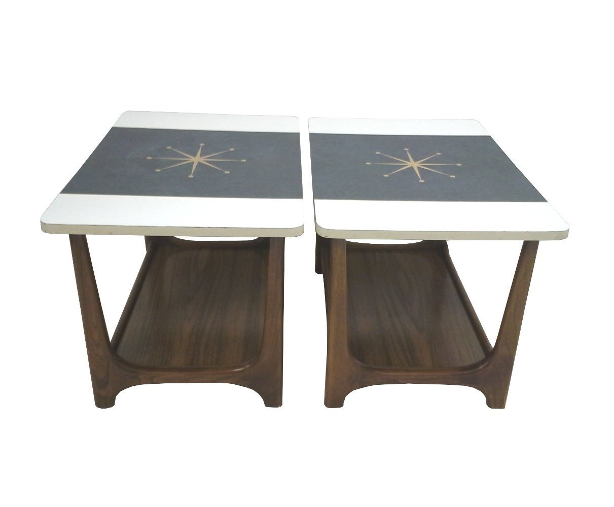 Mid-Century Adrian Pearsall Style Walnut Atomic End Tables-Pair