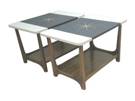 Mid-Century Adrian Pearsall Style Walnut Atomic End Tables-Pair - $575.00