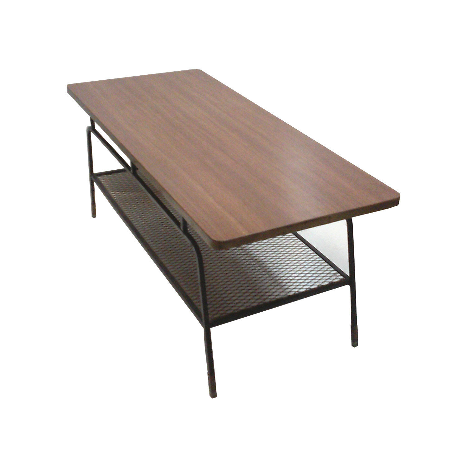 Mid-Century Arthur Umanoff Iron and Walnut Laminate Coffee Table