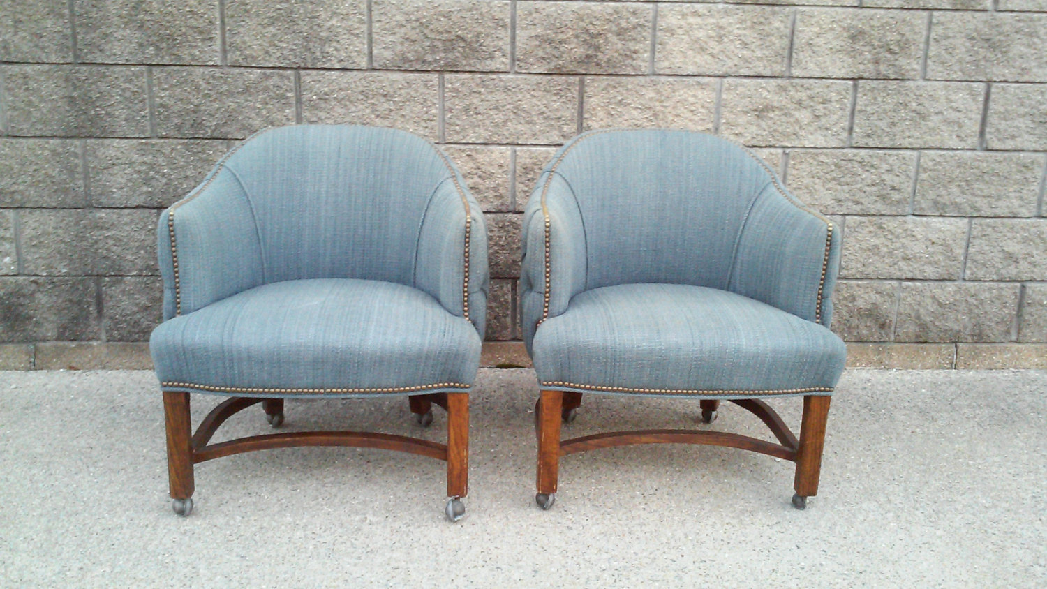 Mid Century Blue Tufted Barrel Back Club Chairs with Nail Head Trim-Pair
