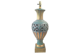 Turquoise Gilt Chinoiserie Lamp in the Style of James Mont - $1,675.00