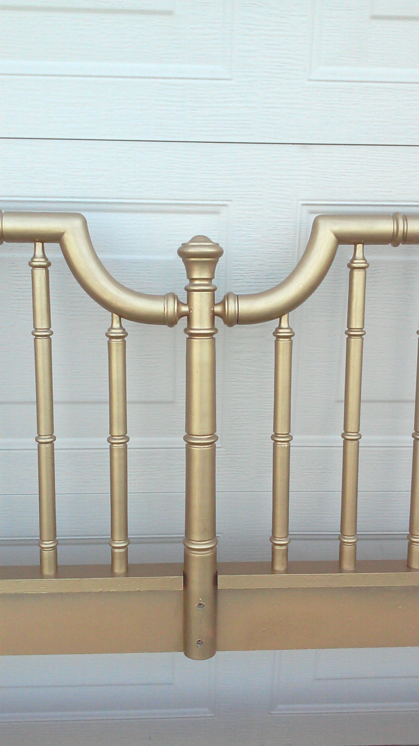 Vintage Faux Bamboo Headboard, Gold Chinoiserie, Hollywood Regency-King Size