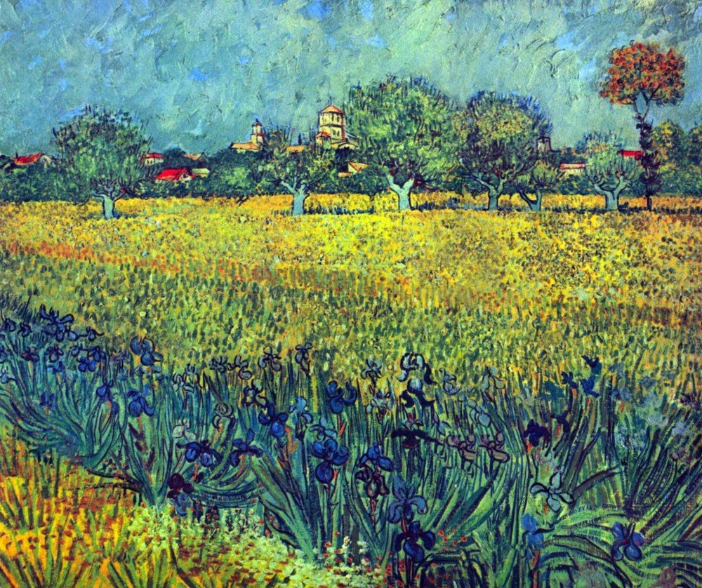 100% Hand Painted Oil on Canvas - View of Arles with irises by Van Gogh - 24x...