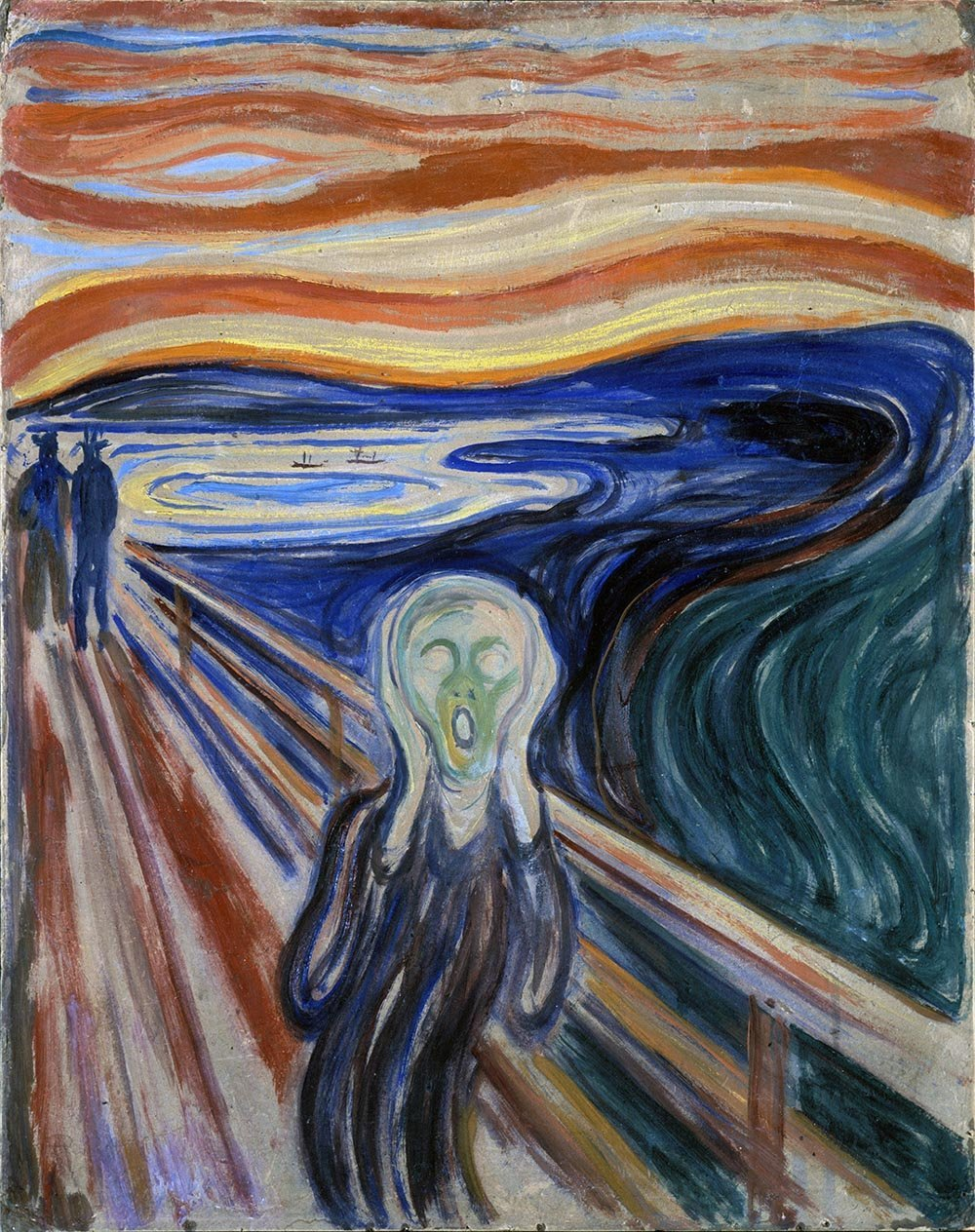 100% Hand Painted Oil on Canvas - Munch - The Scream - 30x40 Inch