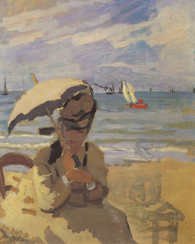 100% Hand Painted Oil on Canvas - Camille Monet on the beach at Trouville by ...