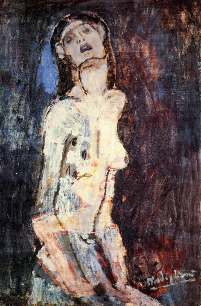 100% Hand Painted Oil on Canvas - Modigliani - Nude, Nudo Dolente - 20x24 Inch