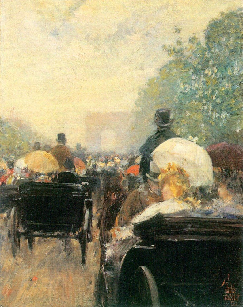 100% Hand Painted Oil on Canvas - Carriage Parade by Hassam - 24x36 Inch
