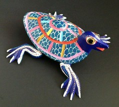 "Alebrije Oaxacan Turtle Colorful Wood Carving Mexico Signed 5"" - $45.50"