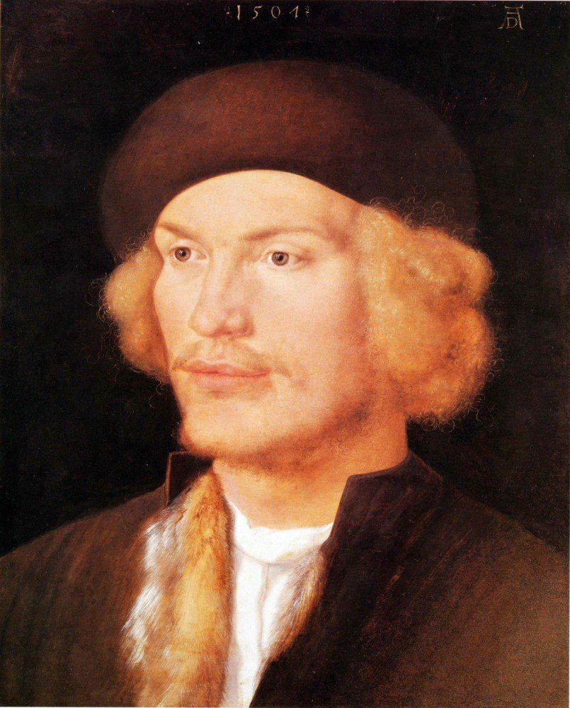 100% Hand Painted Oil on Canvas - Portrait of a young man 2 by Durer - 20x24 ...
