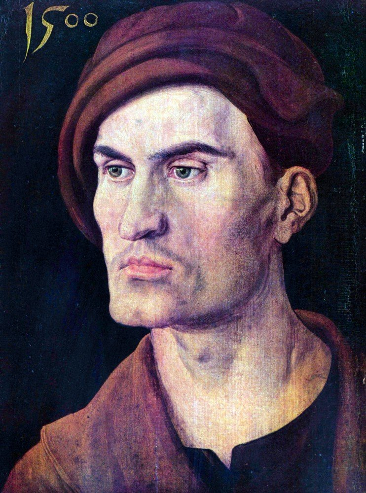 100% Hand Painted Oil on Canvas - Portrait of a young man by Durer - 20x24 Inch