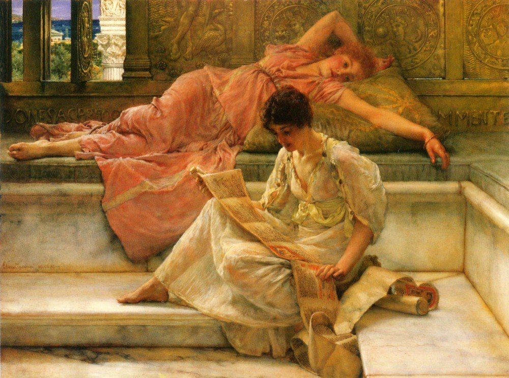 100% Hand Painted Oil on Canvas - Alma-Tadema - A favorite poet - 30x40 Inch