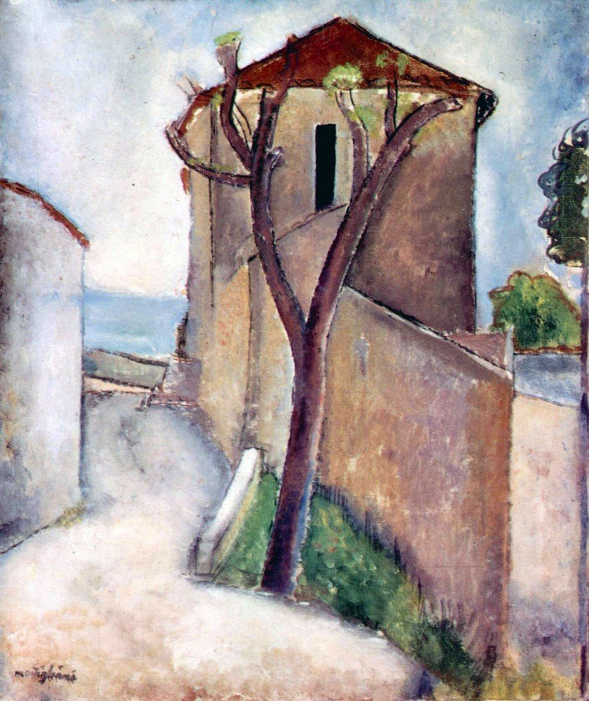 100% Hand Painted Oil on Canvas - Modigliani - Tree and House - 30x40 Inch