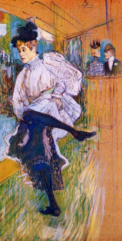 100% Hand Painted Oil on Canvas - Jane Avril dances by Toulouse-Lautrec - 30x...