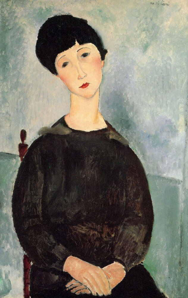 100% Hand Painted Oil on Canvas - Modigliani - Young girl - 30x40 Inch
