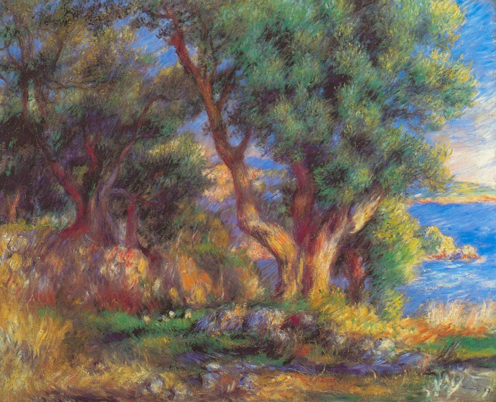 100% Hand Painted Oil on Canvas - Landscape in Menton by Renoir - 30x40 Inch