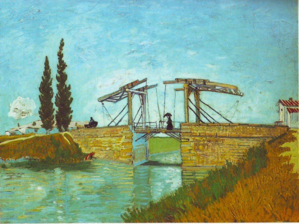 100% Hand Painted Oil on Canvas - Bridge at Arles by Van Gogh - 24x36 Inch