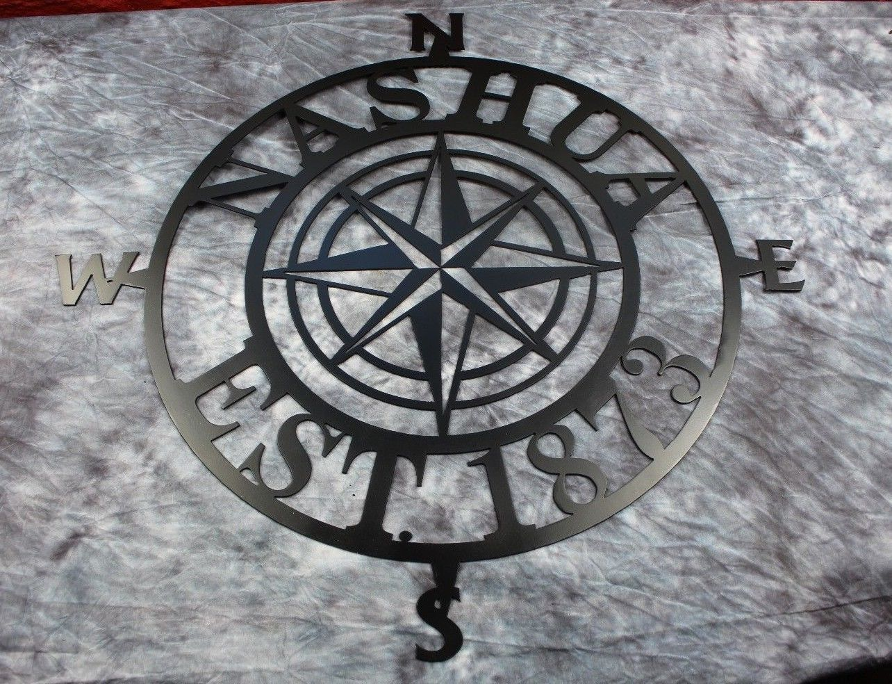 "Nautical COMPASS ROSE  25""WALL ART DECOR customized/personalize BLACK"