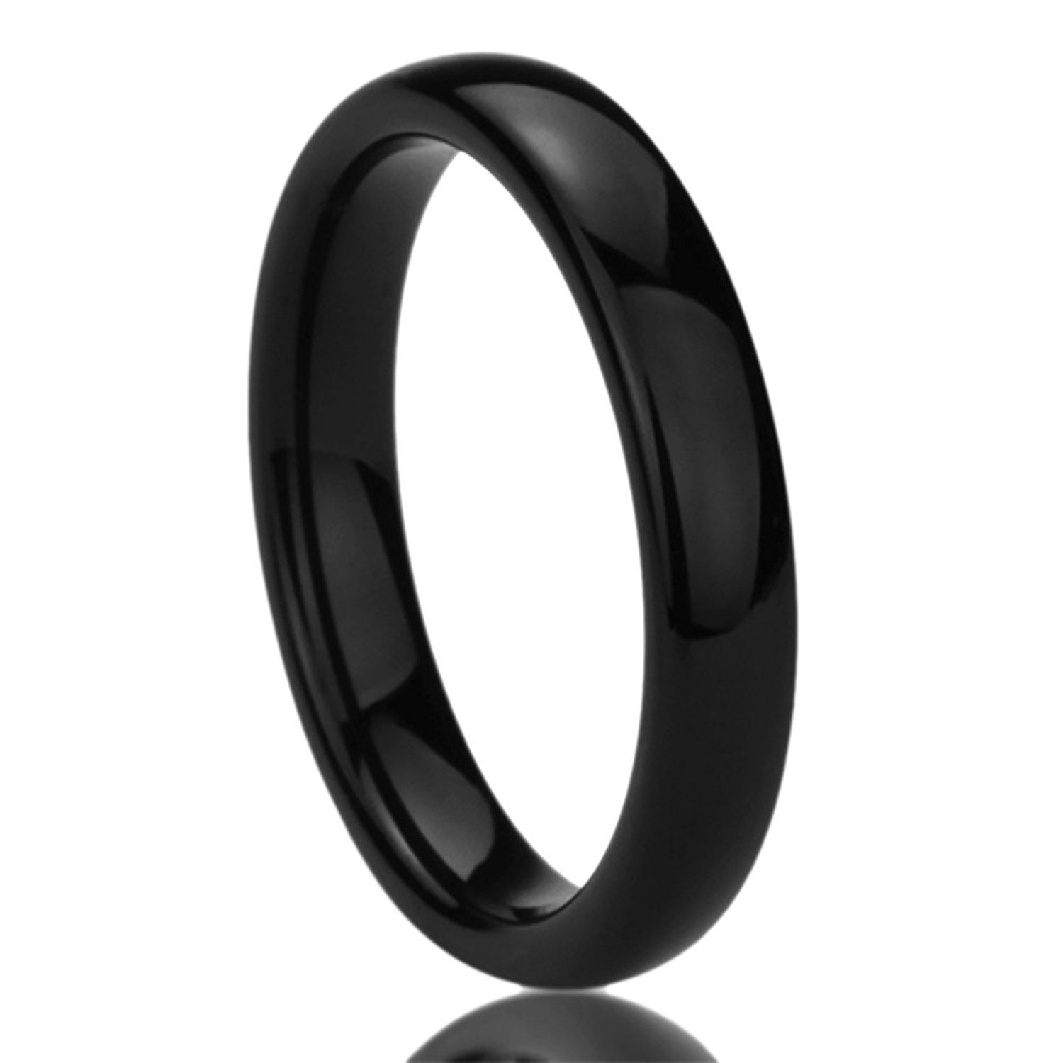 4MM Titanium Comfort Fit Wedding Band Ring Black High Polished Classy Domed Ring