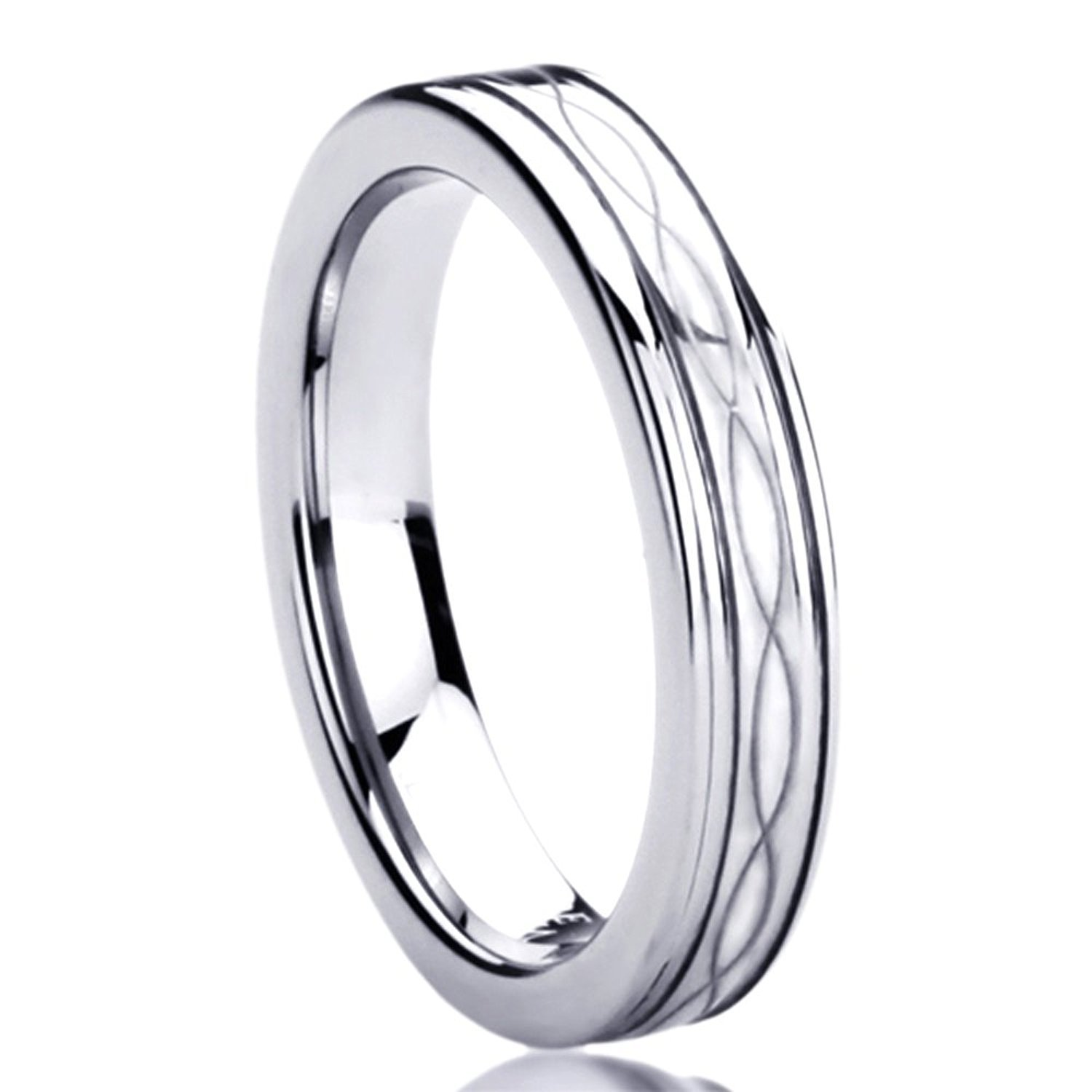 4MM Titanium Comfort Fit Wedding Band Ring Laser Etched Infinity Patterned Ring