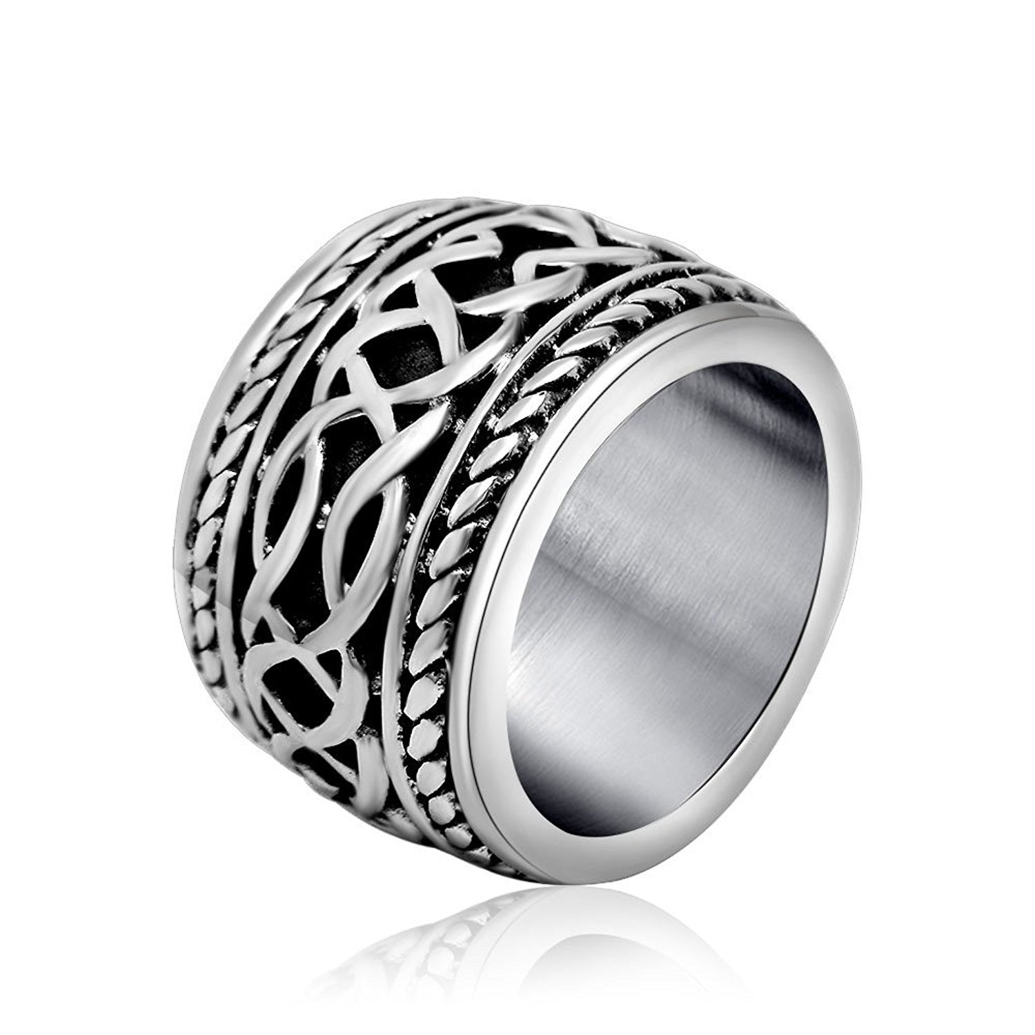 14MM Men's Titanium Stainless Steel Ring Band Cross Retro Style Sizes 5-15 & Hal
